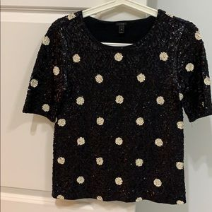 J Crew sequined top with black and white polka dot